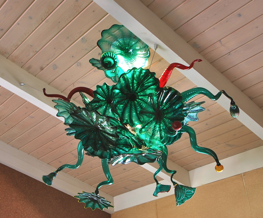Strini art glass custom lightingstriniartglasscustomlightingrondel teal chandelier aloadofball Gallery