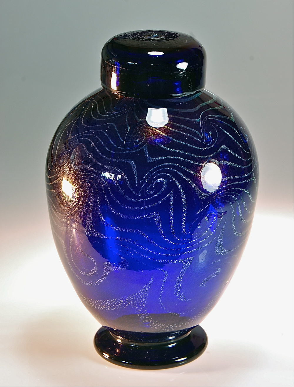 Cobalt wave pattern Ginger Jar