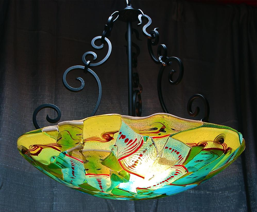 "Aquarium scroll 23"" fused dome lamp"