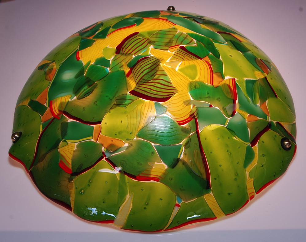 "jungle green 23"" fused dome lamp"