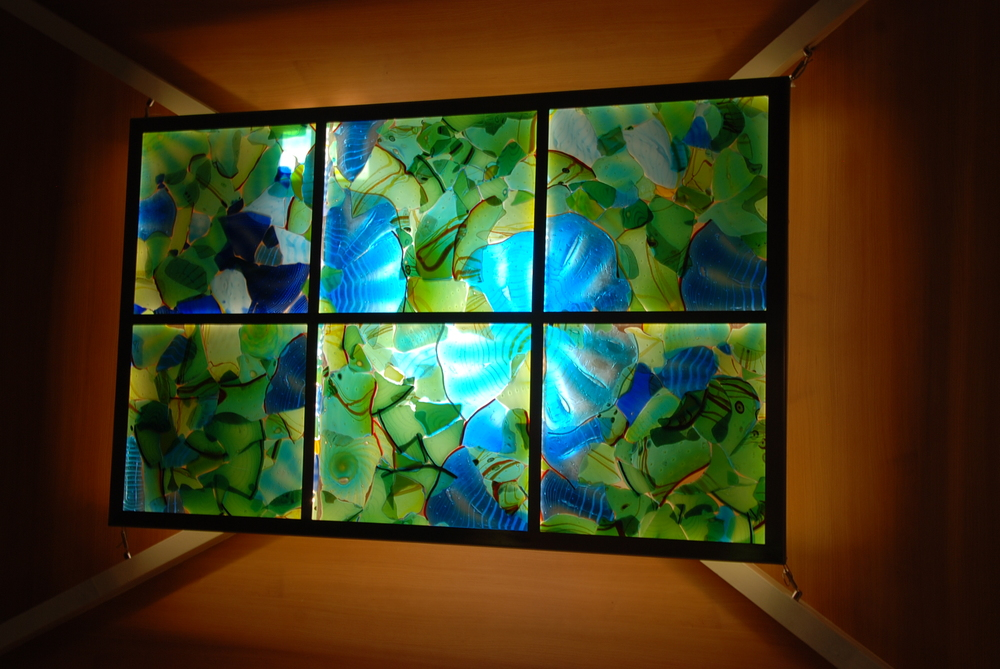 "Fused Glass Mosaic, 40"" x 60"" stainless steel and LEDs"