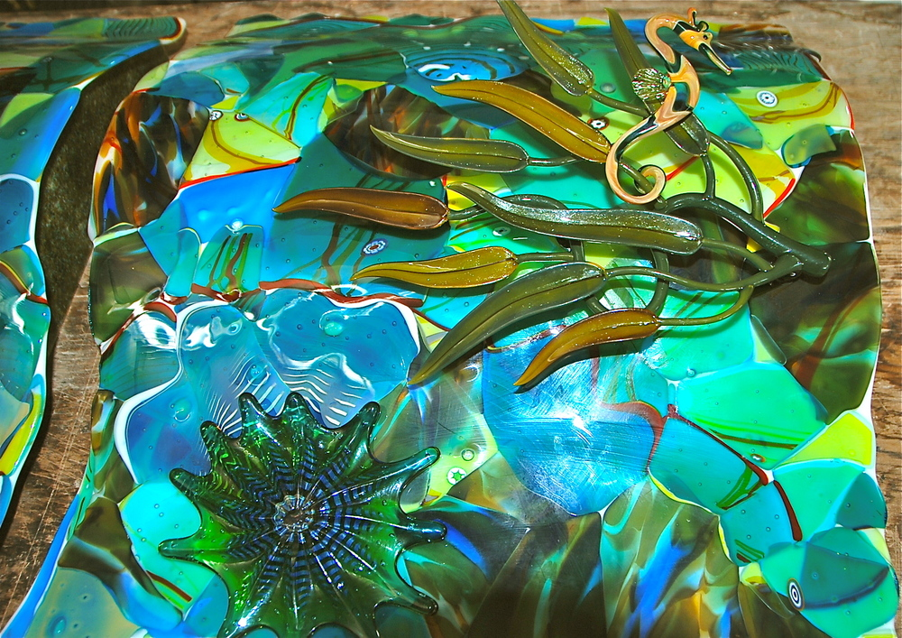 "Fused Glass, Slumped, Triptych, 24"" x 75"", additionally three dimensional elements by rick strini and torch work by Jupitor Nielsen"