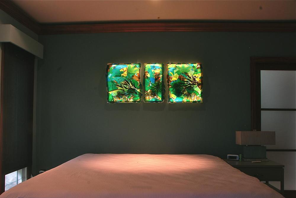 "Fused Glass, Slumped, Triptych, 24"" x 75"", additionally three dimensional elements by rick strini"