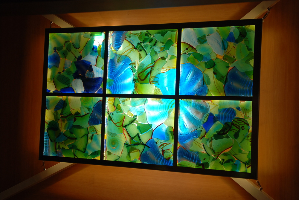 "fused glass skylight with LEDs  45"" x 65"""