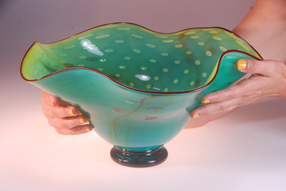 Aquarium Series Salad Bowl, circa 2014 by Rick Strini Yellow interior and Turquoise exterior with ruby lines and milifiroi and captured bubbles.