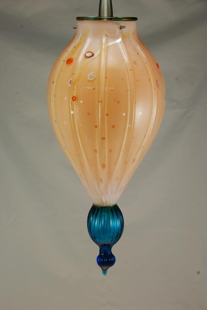 Haiku pendant papaya opal with turq. finial