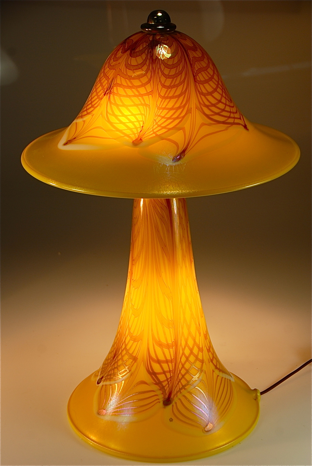 recently finished LEmon Opal with Lace decoration, this two piece lamp has the base and the top illuminated.  There is a dimmer switch in line on cord.  This lamp is for sale, inquire..  rick strini  808 572-6283