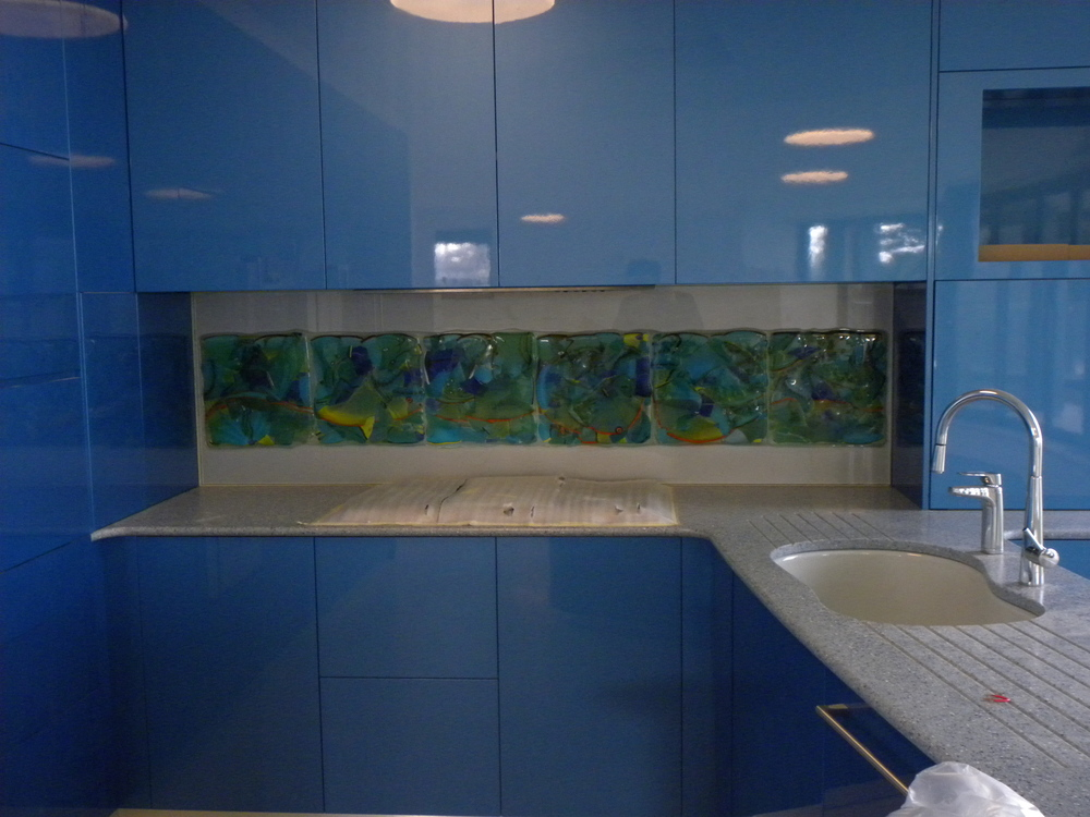 "Back Splash 20""  x 65""  fused glass ""adventures in Paradise"" series rick strini 2014"