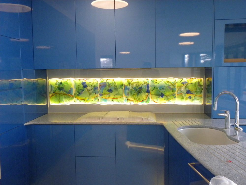 "Back Splash 20""  x 65""  fused glass ""adventures in Paradise"" series rick strini 2014 sydney, Australia"