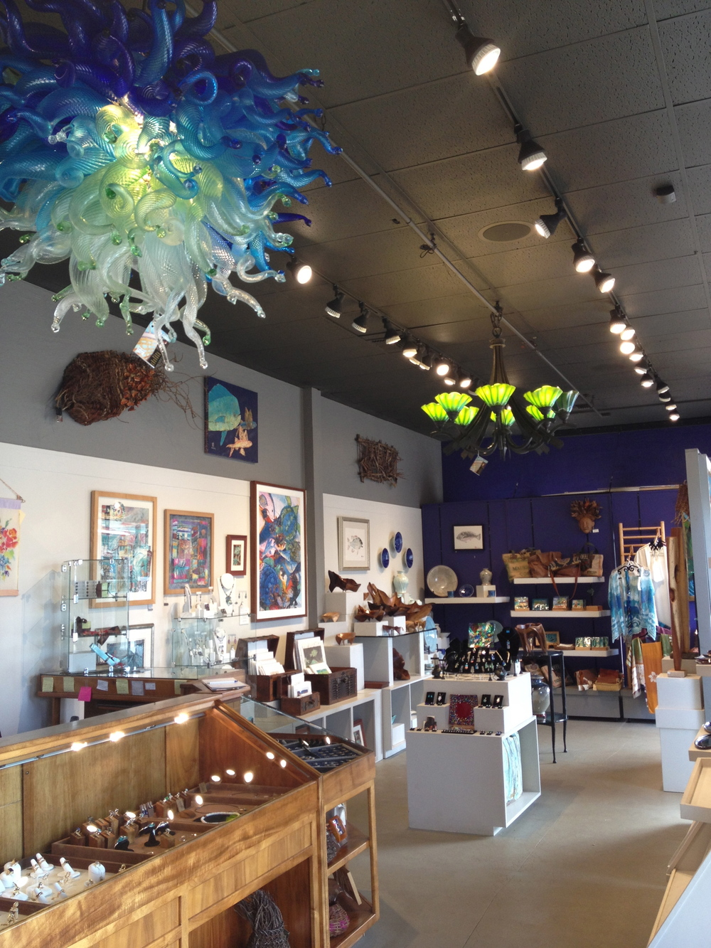 Maui Crafts Guild at the intersection in beautiful downtown Paia, in paradise,  Maui, hawaii.  shown here chandeliers by rick strini  2014