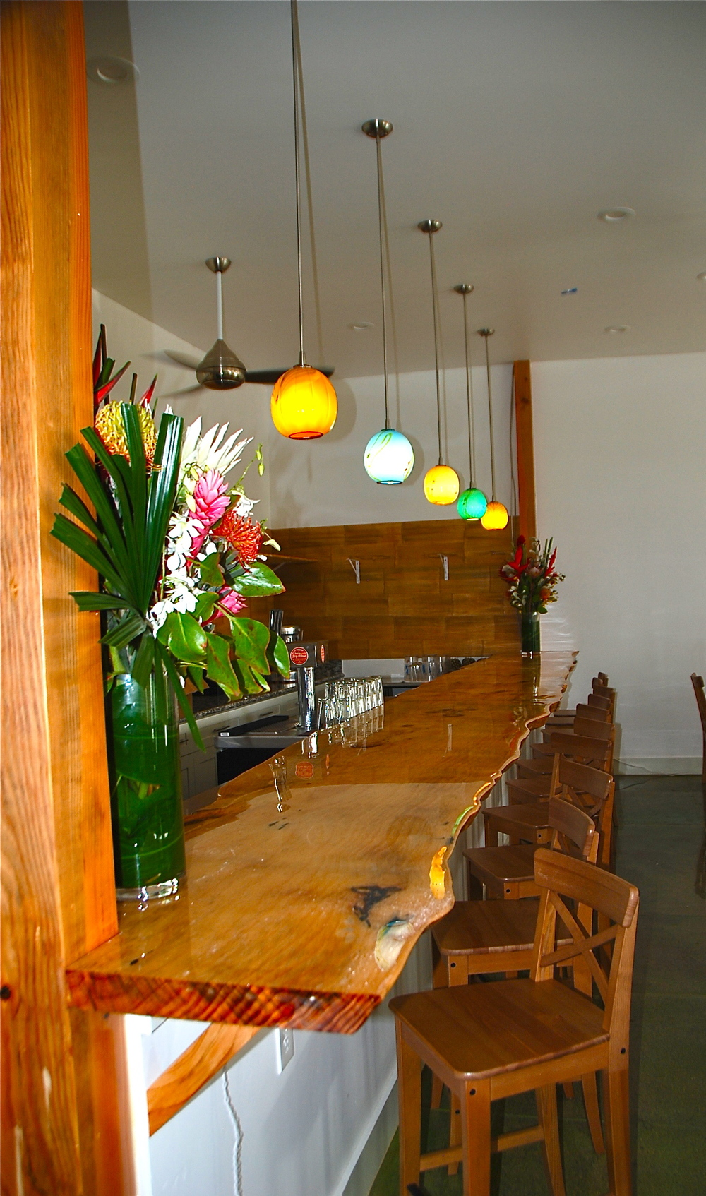 Downtown Paia,  Maui  a new Raw Food Bar with lighting by Strini Art Glass. 2014