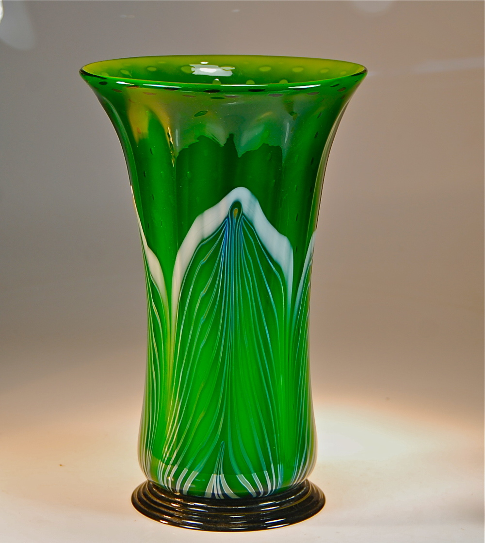 "13""  x  8""  Emerald Flower Vase with Silver and white opal decoration and captured air bubbles.  2014  rick strini"