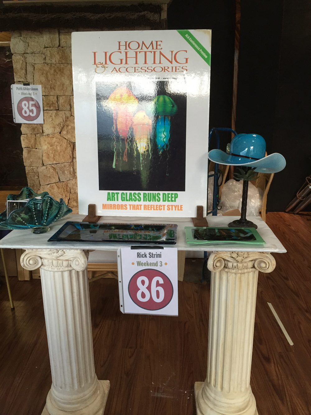 Strini Art Glass Display at the opening reception for Maui OPEN Studios Tour 2015  #86 on the map for the third weekend of Feb .21st and 22nd.  Strini Art Glass