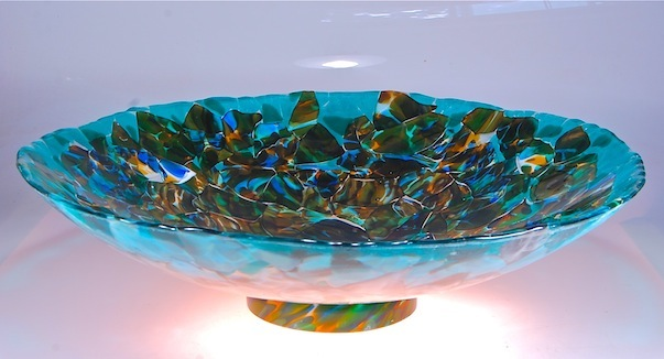 "27"" diameter x  7"" high   fused glass using a new blowing technique called Sfumado, Italian for blending of colors, recycled blown glass fused and slumped.  2015"