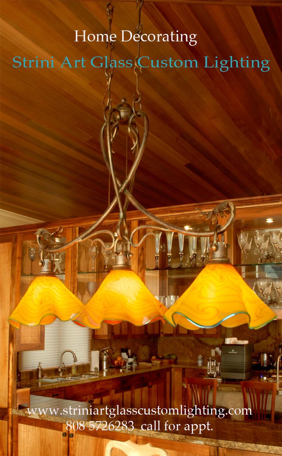 Three Light Trestle Lamp Kitchen, Strini Art Glass 2015