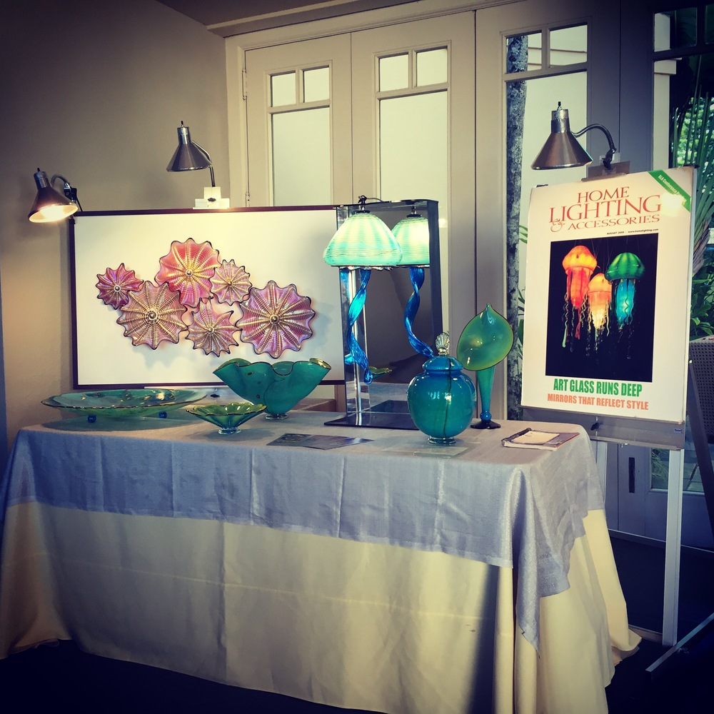 Another Day at the Ritz, Kapalua  Maui    Strini Art Glass  new jellyfish, wall splash and platter in the Adventures in Paradise series,  as well as the new Maui Wish Keeper.  2015