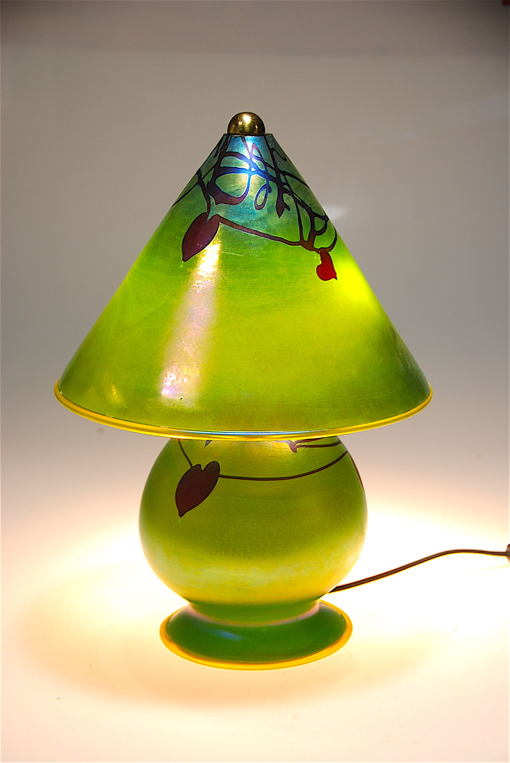 "Radical New Gem Lamp in Moss Luster16"" x 9.5""  Heart and vine decoration.  artist Rick Strini 2015-2016"