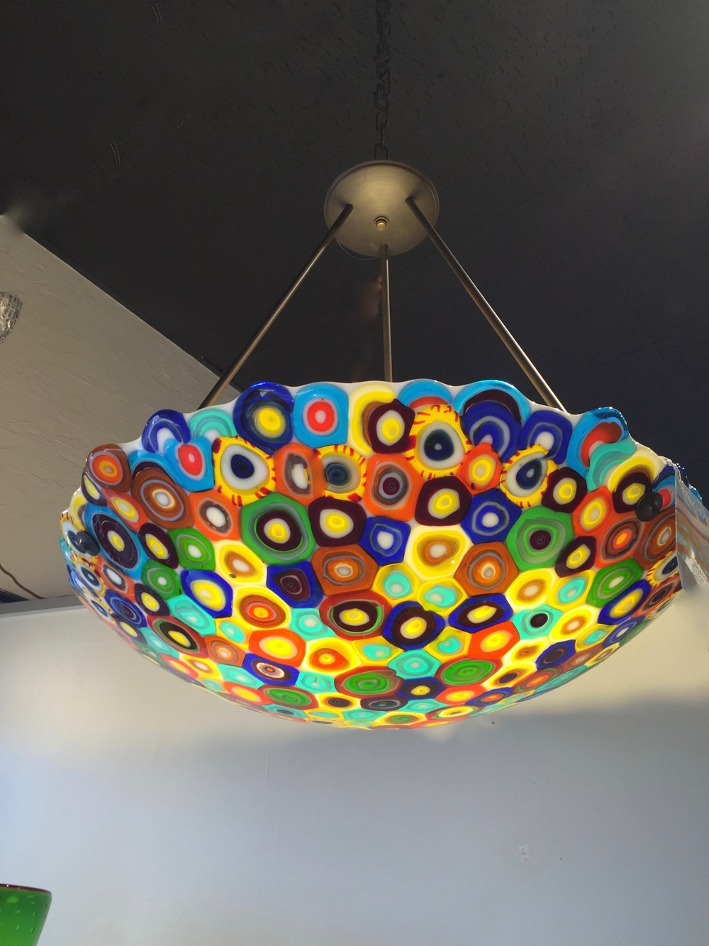 "Finished Opihi Dome Lamp,  23"" x 5"" triple lights, currently at the Maui Crafts Guildartist rick strini 12/2015"
