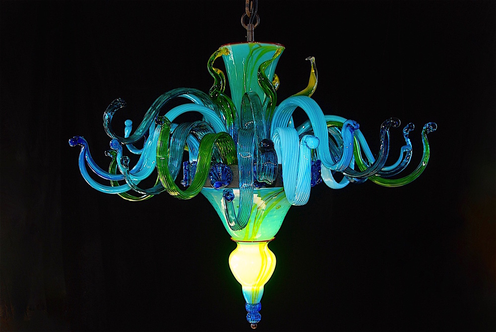 "All new style of arms.  42"" w x36"" tall,  LED illuminated, 53 pieces of hand crafted glass with Hardware by Robers, Germany2016 signed and dated,  Rick StriniStrini Art Glass"