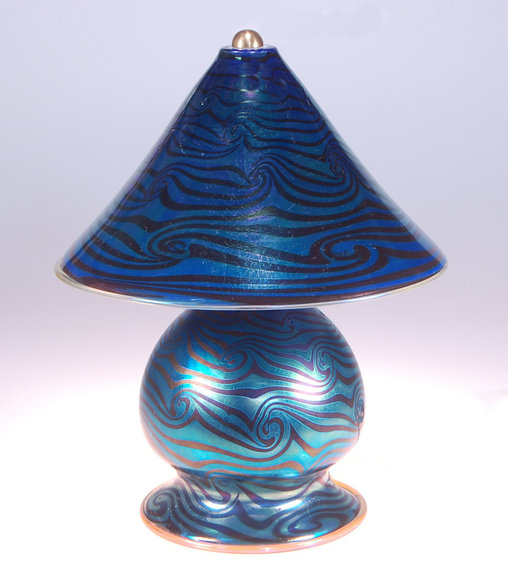 "Blue Luster Gem Lamp,  9.5"" wide x 12"" tall,  Hand decorated Wave pattern,  Illuminated within base and canopy, 110v. candelabra sockets and bulbs.  For Sale.  strini art glass.  2016"