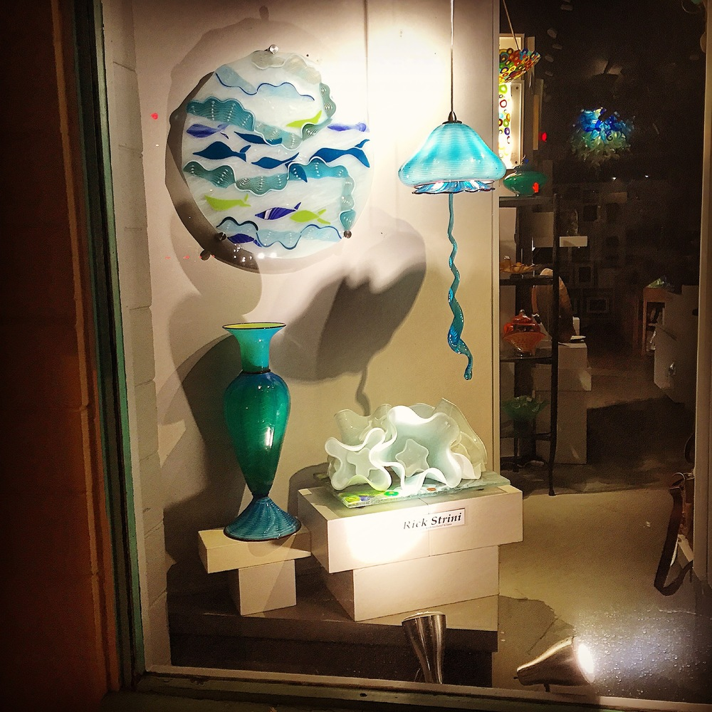 Current Window display at the Maui Crafts Guild, Paia , Maui, Hawaii2016artist rick strini