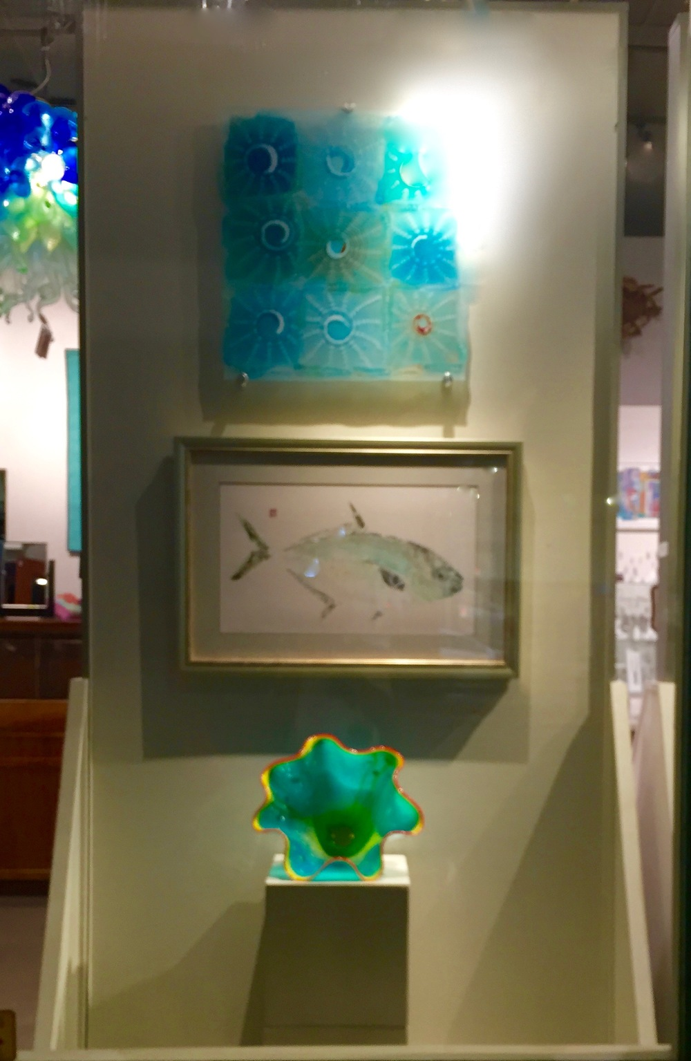 new Hana Hwy display with Rick Strini and Debra Lumpkins fish printing.   2016april
