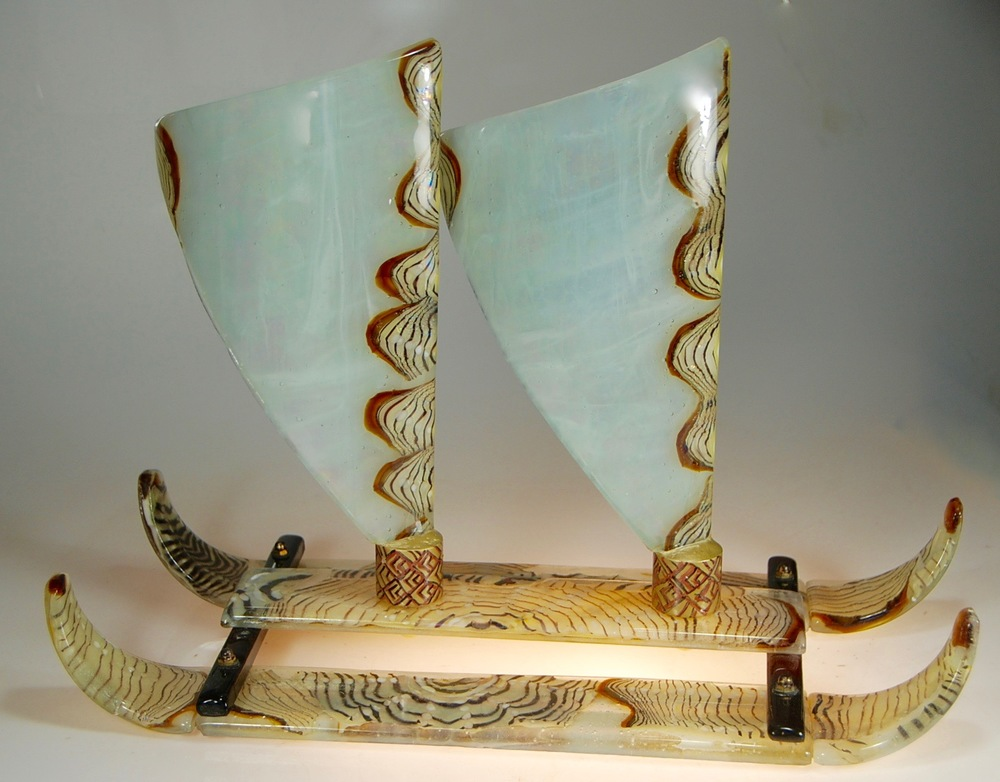 "24"" long x 10"" wide x18"" tall double sails fused, blown, and slumped glass by rick strini 2016FOR SALE NOW.  Inquire.  808 5726283 or rick@striniartglass.com"