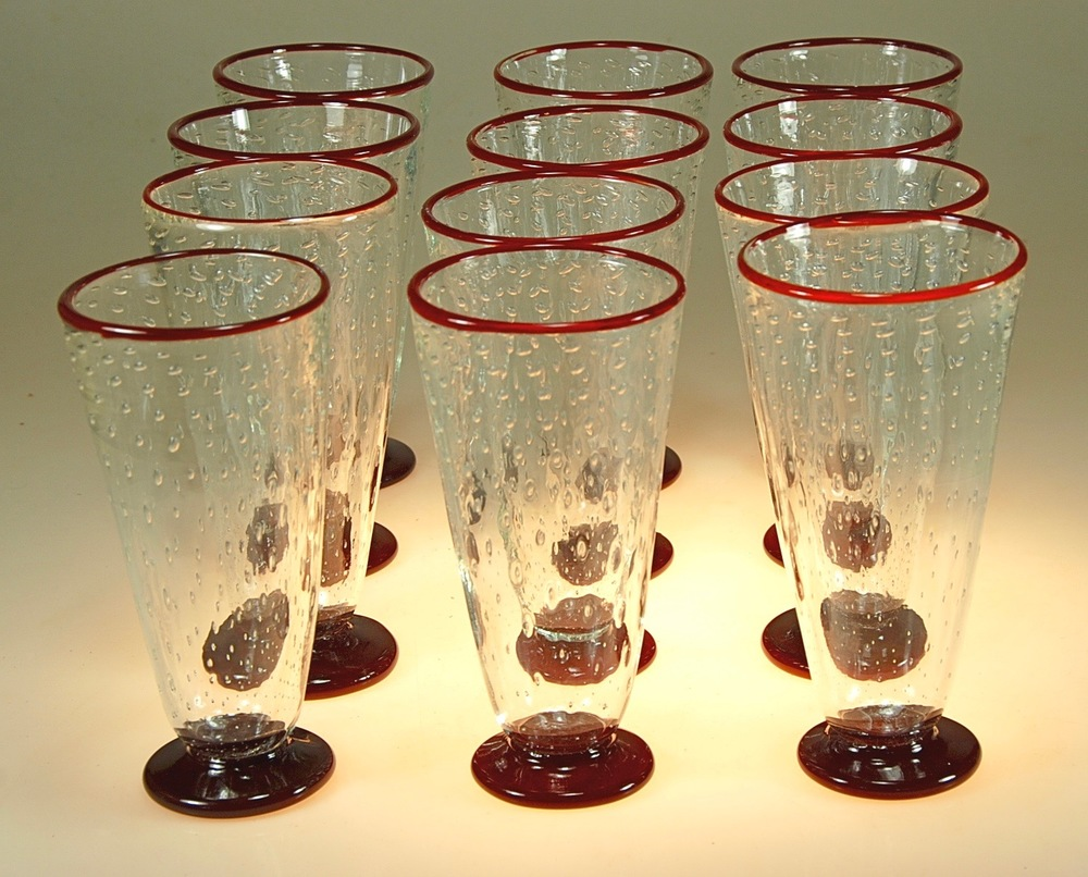 beer/ water glasses  rick strini  strini art glass