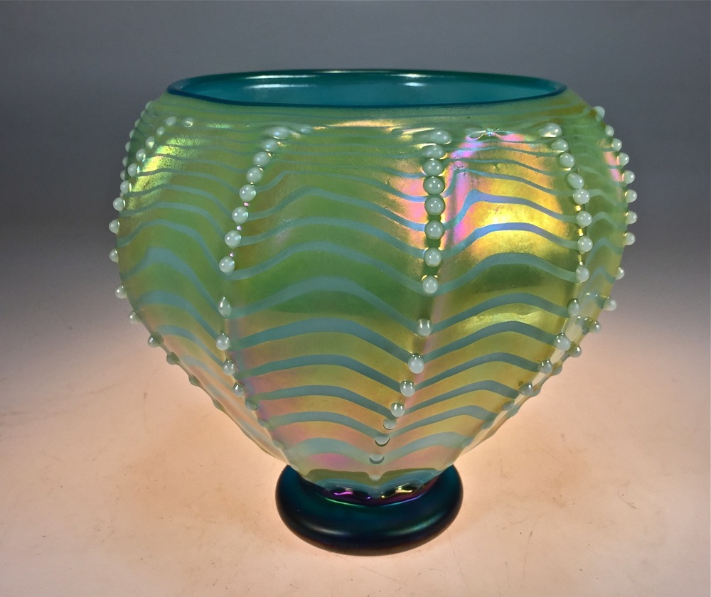 Optic patter, hand decorated with pearls and gold luster this vase is now on my shopping cart 2016rick strini    strini art glass   Turquoise Luster.