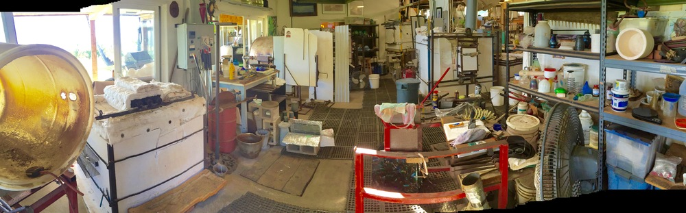 Here is my studio shop,  where I make it all.  Things are heating up so I will begin working in a few days.  strini art glass.           2016