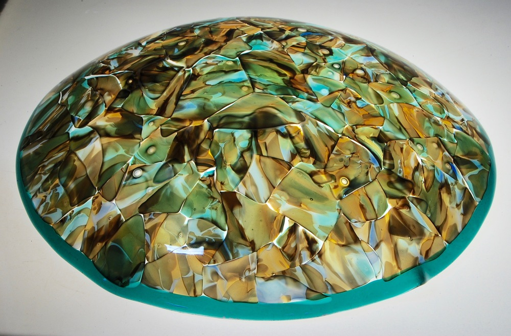 "Finished Sfumato dome with Teal Lip for Dome Lamp Chandelier.  Strini Art Glass 23"" diameter"