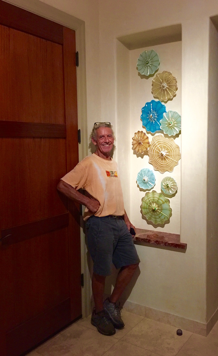 New Rondel Wall Splash installed yesterday at the Pinnacles in Kaanapali,  Maui.  One of Two in the entryway.   rick strini   2016