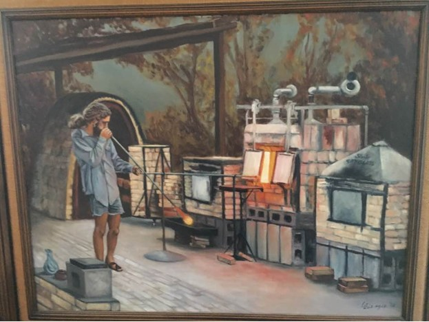Im trying to find the origin of this snap shot painting of me blowing glass in Old Town Los Gatos.