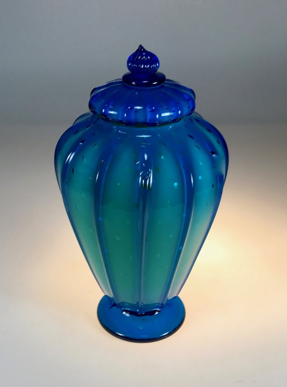 "Aquarium Lidded Jar7"" x 12""tall   strini art glass"