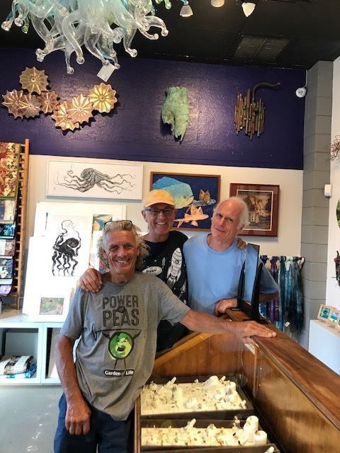 Rick Strini,  Will Hererra, and the renascience man Barclay Hill.  Collaborating at the Maui Crafts Guild,,  Paia,  Maui,, Hawaii.  2017