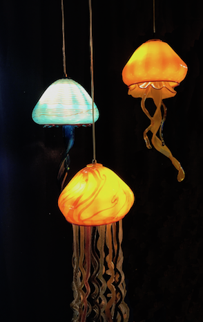 Jellyfish composition to hang in clients home.  Strini Art Glass Custom Lighting.   rick strini 2017