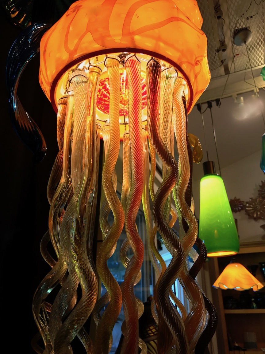 new Tangerine Jelly FishStrini Art Glass custom Lighting2017