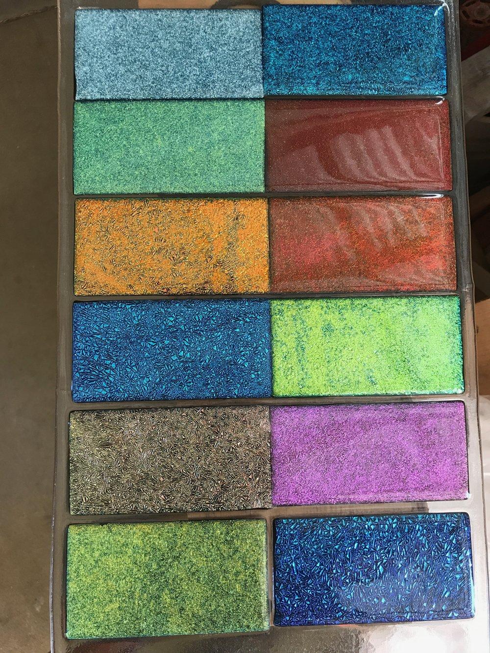 some new dichroic glass samples. strini art glass. 2017