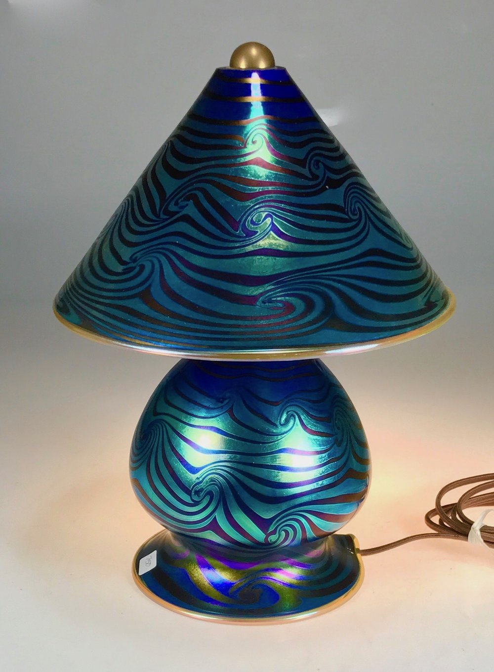 Hand decorated Wave design Gem Lamp.  ready to go.  now available.  Strini Art Glass2017