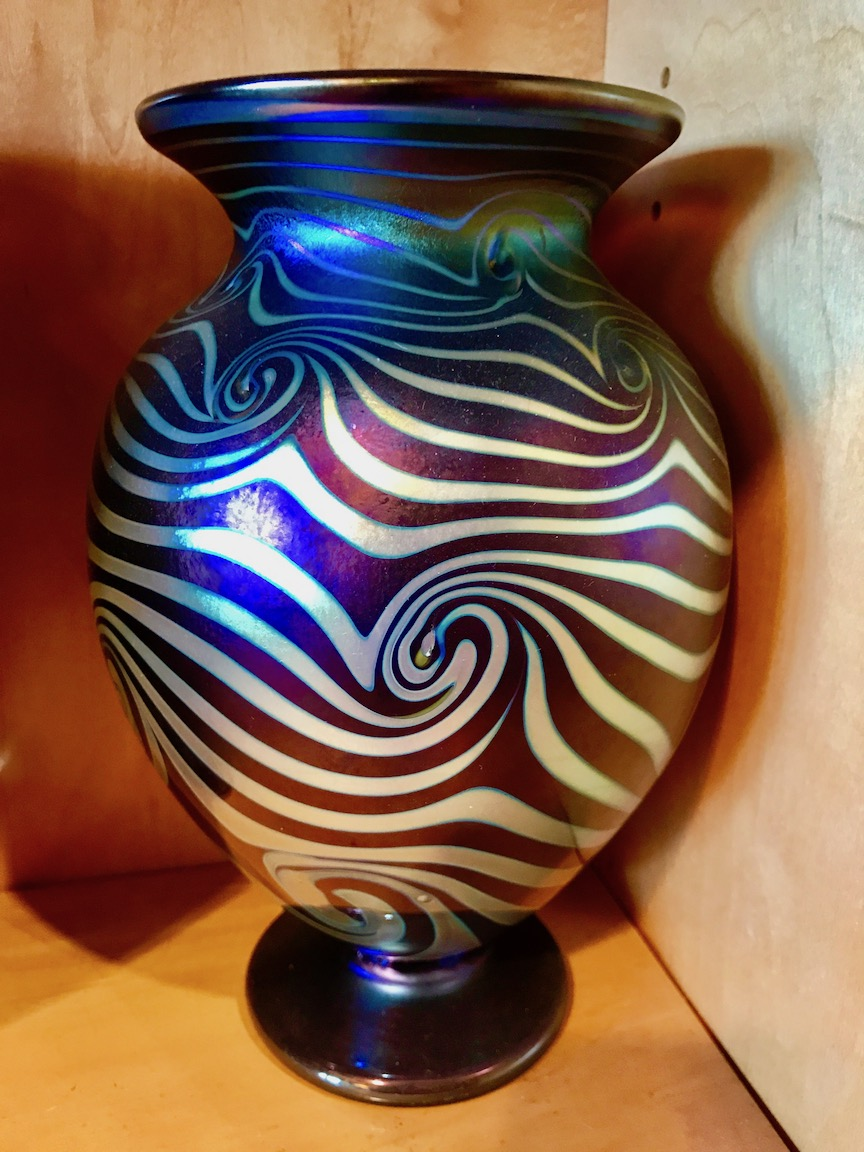 Amber with silver decoration and luster.  The wave pattern.   Strini Art Glass 2017