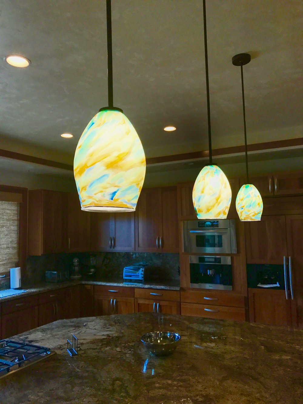 recent install in Launiupuko  home in Maui.  Strini Sfumato Pendants .  2017 -2018