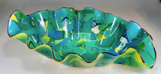 Adventures in Paradise series new free form fused bowl.  Made with recycled blown glass by Rick Strini,  fused and slumped.  2018  for sale