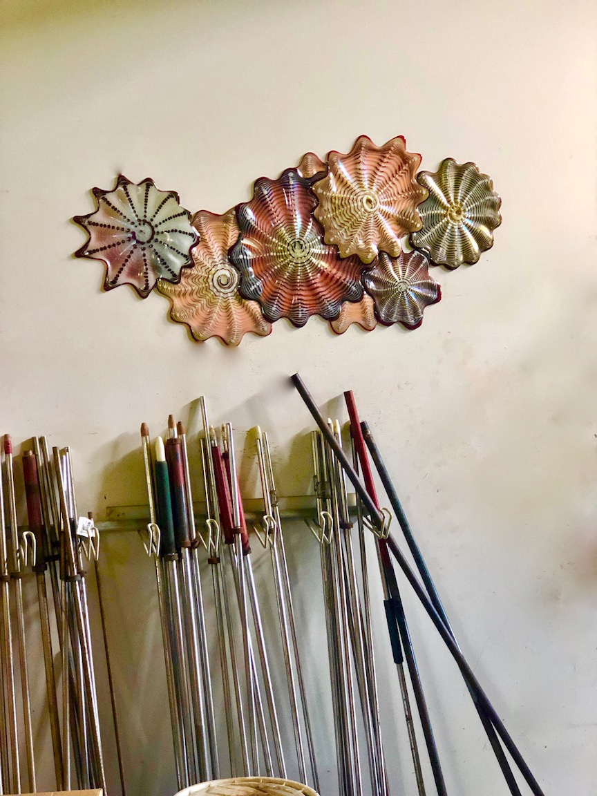 Fused Rondels and blowpipes.  blowing shop. Strini Art Glass.  2018