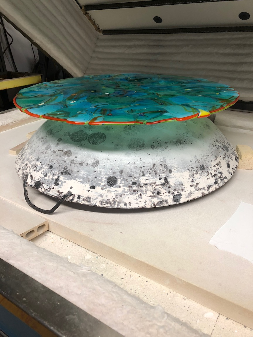 "Using a wok for a mold  the glass will be heated up and it will ""slump"" over the dome.  2018"