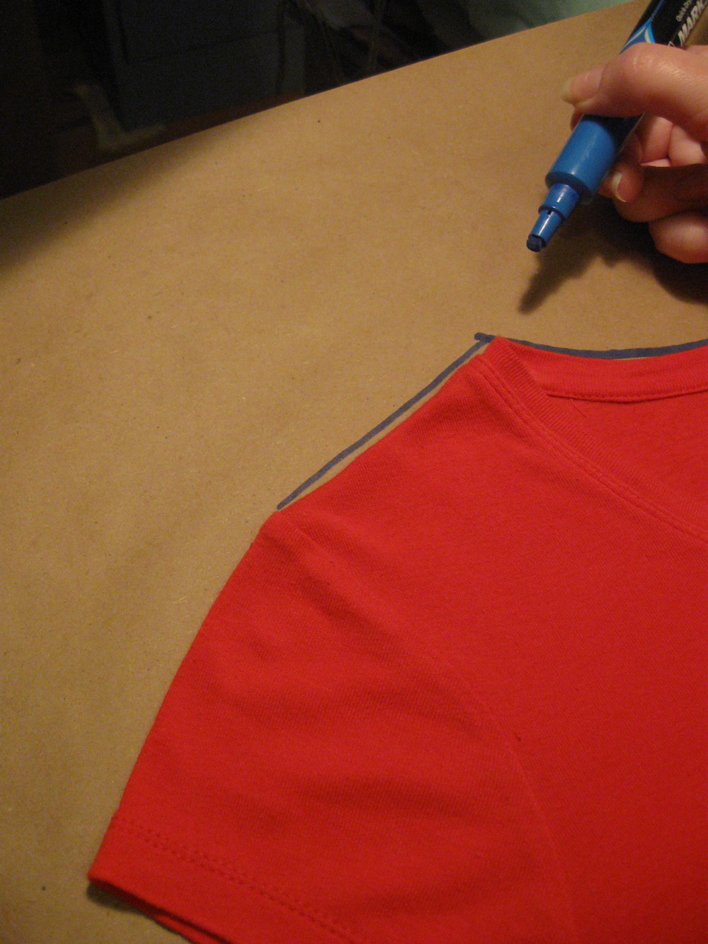Trace the shoulder area. Again, begin at the seam line of the sleeve and body, as shown.