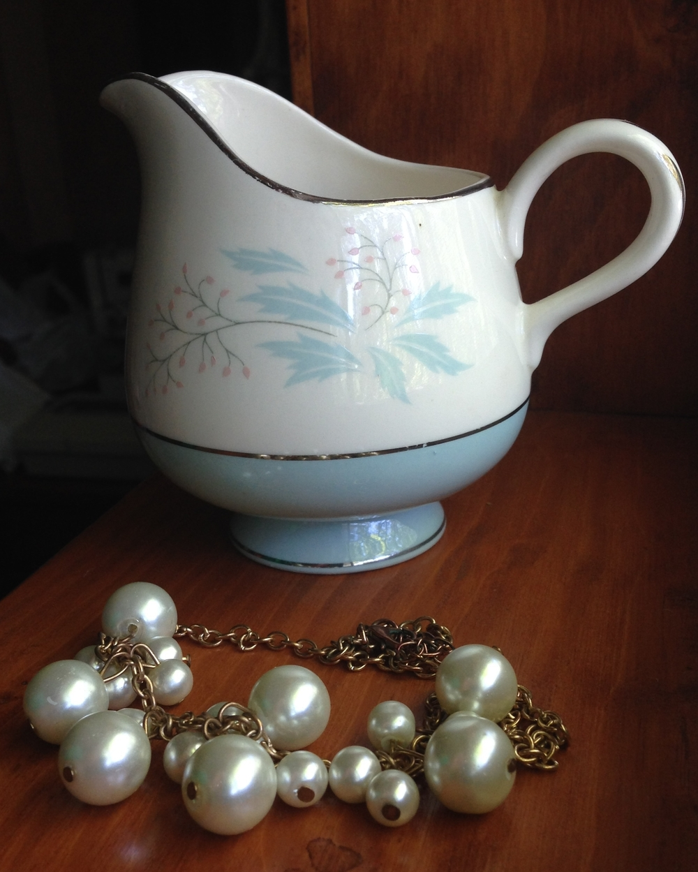 1950's creamer cup and a necklace I bought from Thrifty By Nature