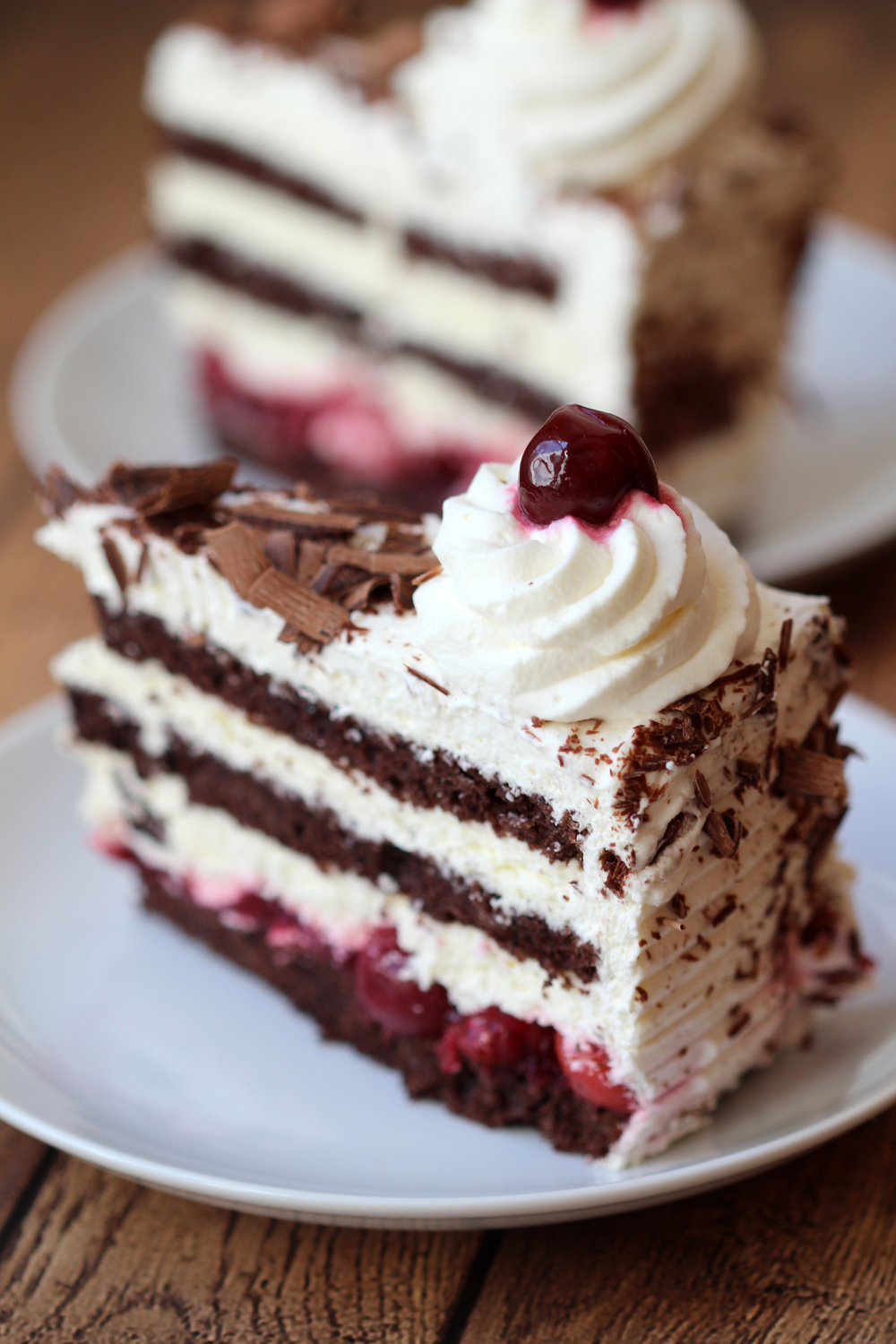 Sliced Schwarzwälder Kirschtorte, or German Black Forest cake