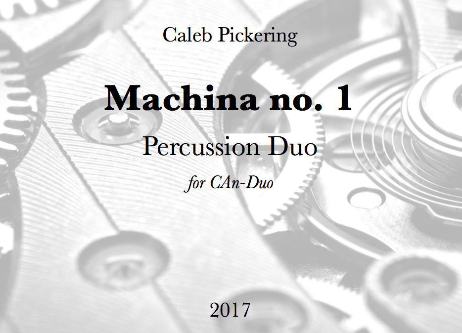 NEW Multi-Percussion Duo commissioned by the CAn-Duo Percussion Duo (Chris Nadeau & Anthony Jackson)