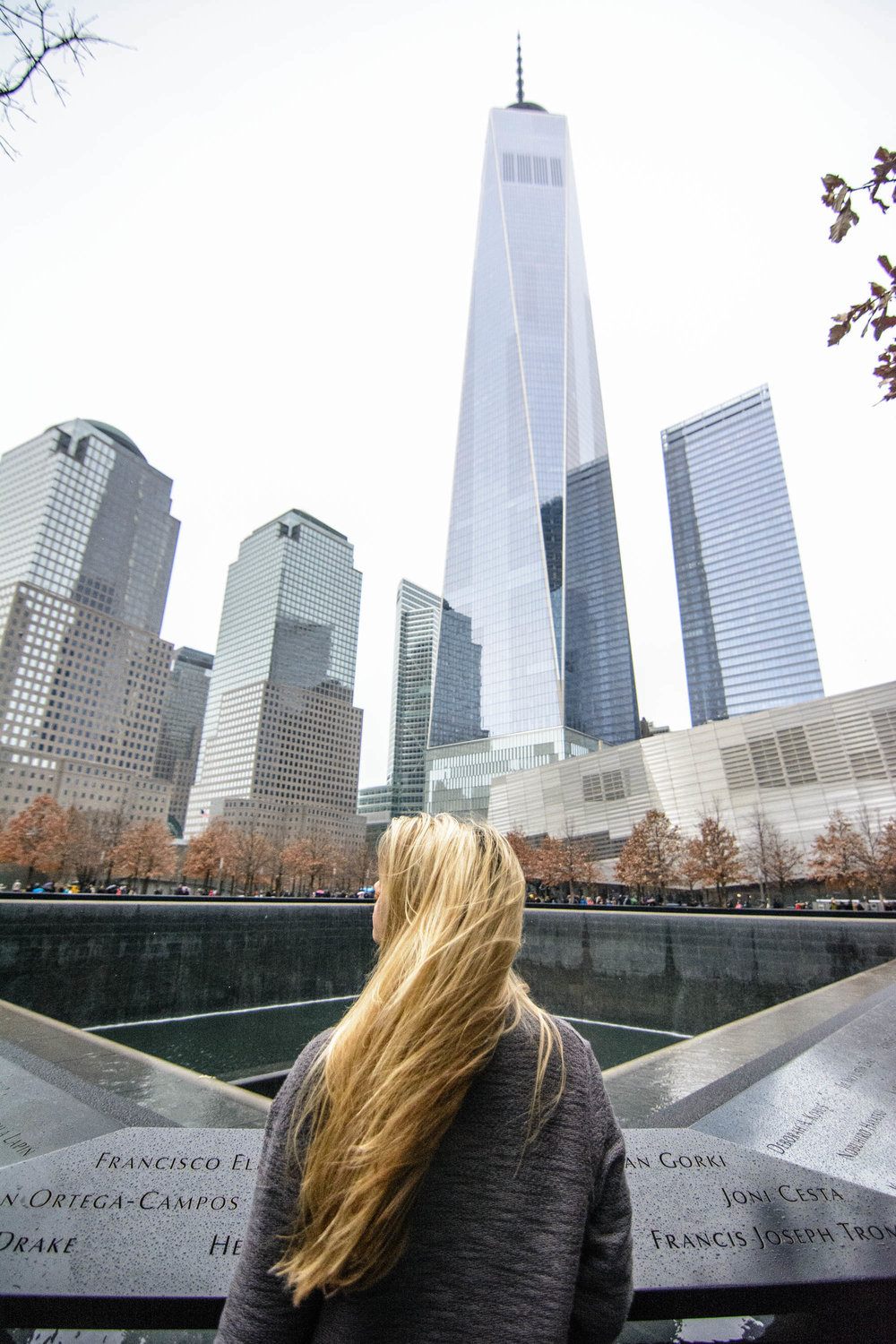 9/11 Memorial. It started raining the minute we walked up to view this incredible sight. I got goosebumps immediately and couldn't bare to leave just because of a little rain. If you make a visit, I highly suggest also going into the museum nearby.