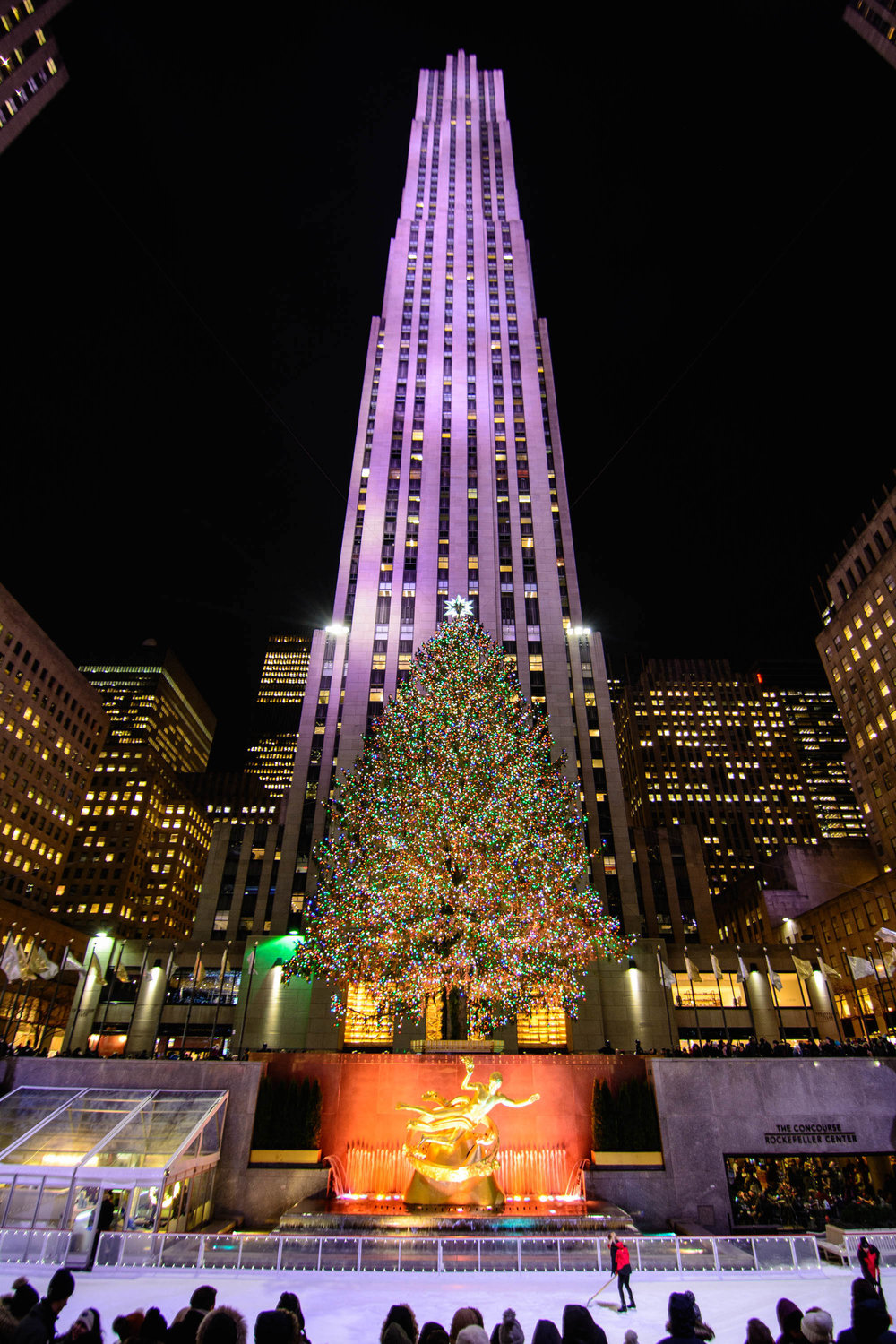 Rockefeller Center Christmas Tree. Right before this photo was taken, we all witnessed a proposal on the ice!